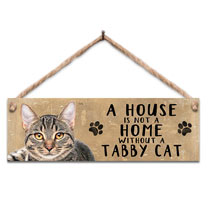 Tabby Cat Home Wooden Sign
