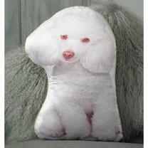 White Poodle Cushion - 46 x 30cm