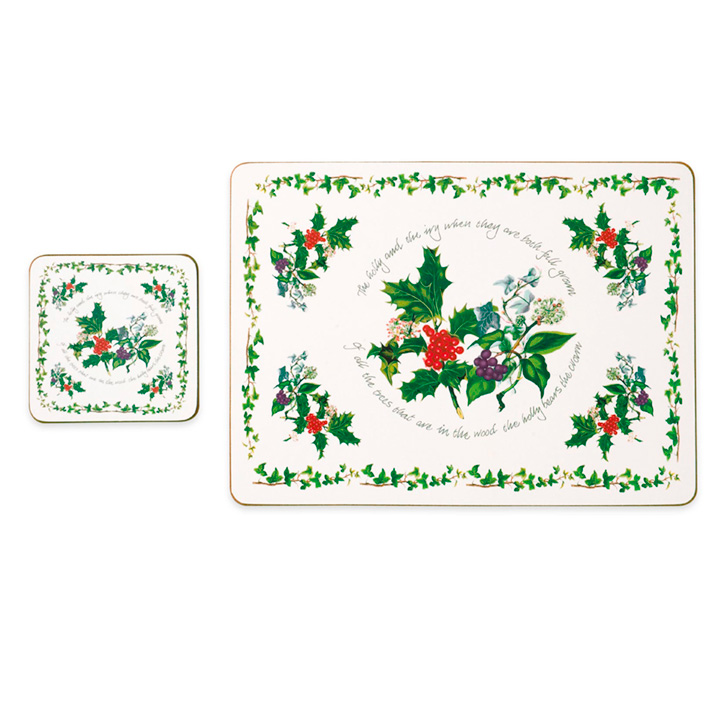 Holly & Ivy Placemats & FREE Coasters