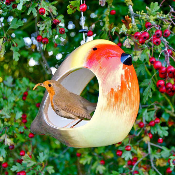 Robin Ceramic Bird Feeder
