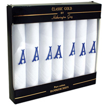 Pack of seven cotton hankerchiefs for men. Personalisation: one initial. (Please note: To order more than one personalised item with a different messa