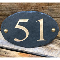 Personalised Oval House Number Sign - Silver