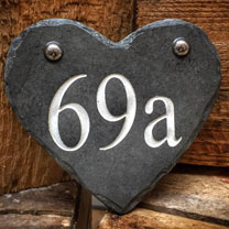 Personalised Heart Slate Number Sign - Silver