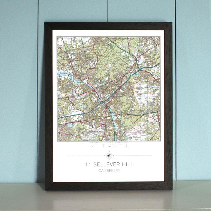 My Home Landranger Framed Map - Black