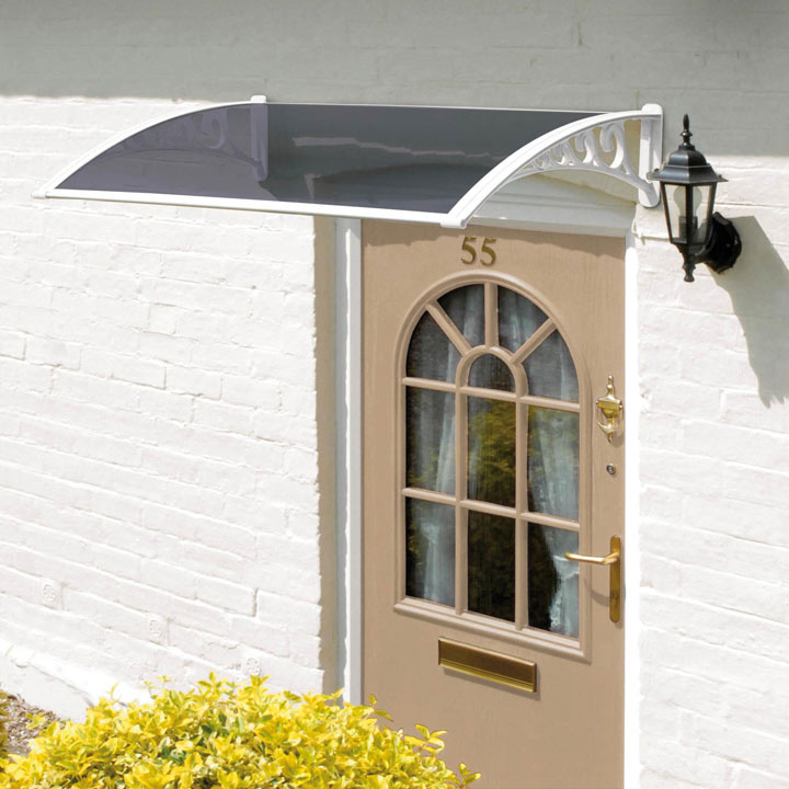 Door Canopy White Grey Cover - 1.2m
