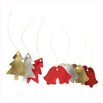 Offer Buy Two Save 75p! Pack of 18 metallic die cut tags in various festive shapes, each approximately 13 x 7cm.