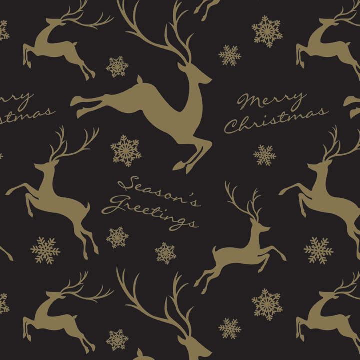 Trio Flat Wrap - Gold Reindeer/Snowflake
