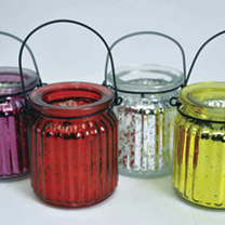 Glitter Ribbed Candle Jar