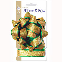 Glitzy Gold Bow & Ribbon