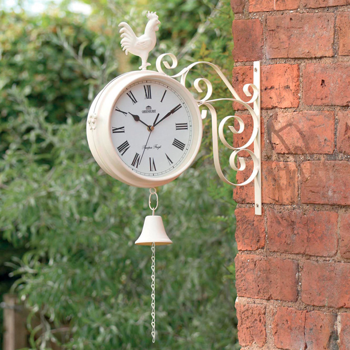 Cream Dual Sided Garden Clock