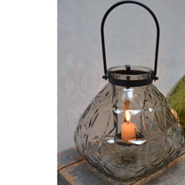 Glass Lantern - Grey or Green
