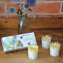 Box set of three scented candles, made with essential oils of rosemary & neroli a beautifully balanced fragrance to promote well-being and happiness.
