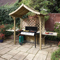 The Party Arbour is the perfect centre point for a garden party. The sides lift up to form side tables and the seat lifts up leaving room for a 1. 5m