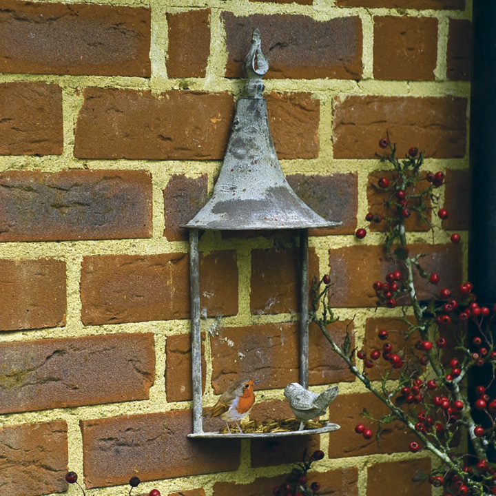 Aged Metal Wall Bird Feeder