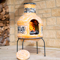 Circles Small Clay Chimenea