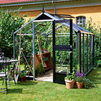 Aluminium & Black Compact Greenhouse & Base - 2.24m x 2.24m