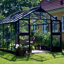 Aluminium & Black Premium Greenhouse & Base - 3.68m x 2.96m