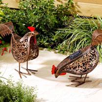 Metal Silhouette Animals - Hens