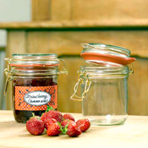 These sturdy glass jars have metal clips and rubber seals that let air out but not back in, creating a superb seal as the contents cool, and making th
