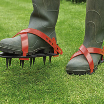 The simple way to aerate your lawn simply strap on to your feet wearing either your wellington boots or shoes. Walk slowly up and down your lawn makin