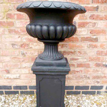 Tall Urn Planter - Black 46cm