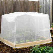 Perfectly tailored to fit over our Timber Raised Bed with Support Hoops. It attaches securely to the bed with the two screw hooks that are included, a