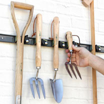 Ingenious tool hanging system to keep tool sheds, garages & broom cupboards, ship shape and tidy. Easy to use tools are secured with a simple push of