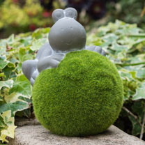 Quirky animals reclining on moss effect balls. These delightful characters are perfect for decorating your garden beds, lawns, patios and balconies. M