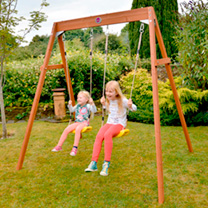 Children will love this double swing set for great outdoor play and exercise. The wooden swings set uses soft feel ropes and heavy duty blow moulded s