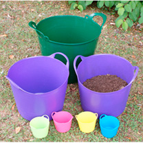 Seven Colourful Handy Trugs