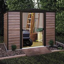 This might look like a nice wooden shed but is in fact a highly sturdy and durable metal construction. This low maintenance design is fire and rot res