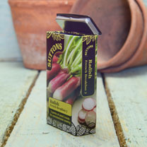A brand new format. Our new tins contain twice the amount of seeds, split into three packets for successional sowing and extended cropping. French Bre