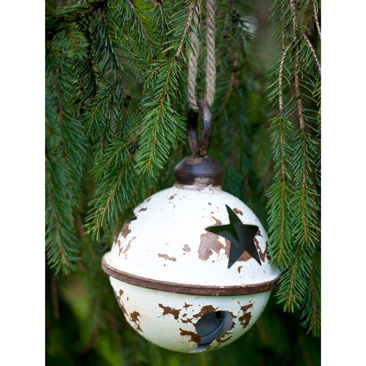 Giant Metal Bauble with Star Design - White