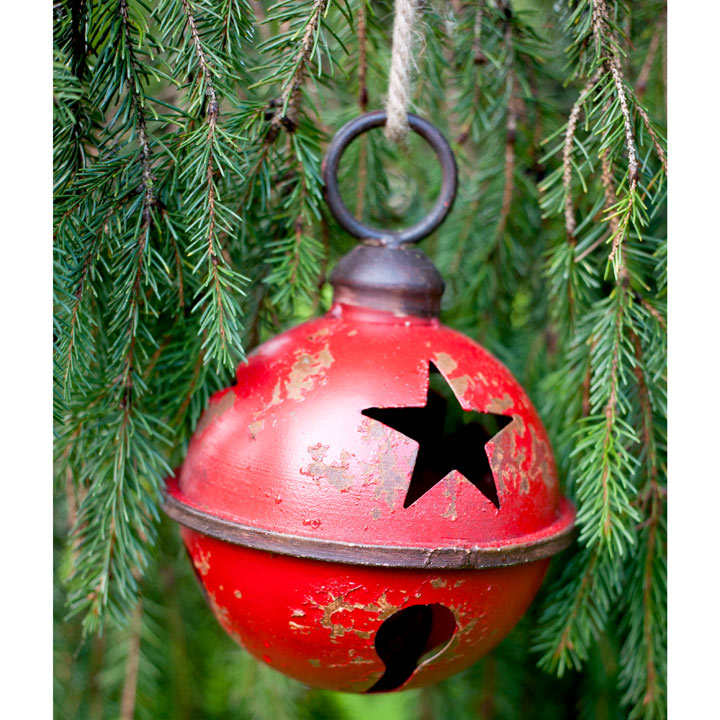 Giant Metal Bauble with Star Design - Red