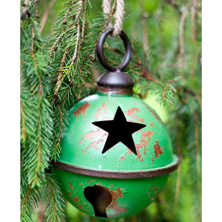 Giant Metal Bauble with Star Design - Green