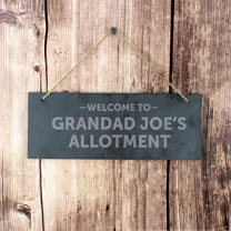 Personalised 'Welcome to.' Hanging Slate Sign
