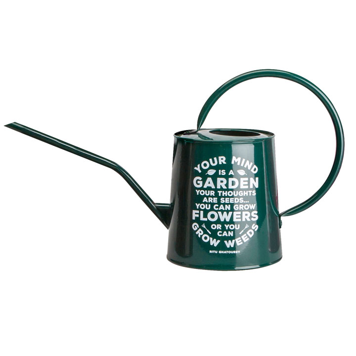 Gardening Quote Decorative Watering Can - Green
