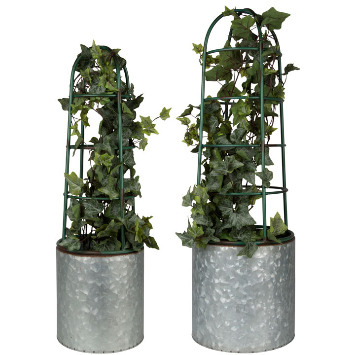 Flower Pot With Plant Supports