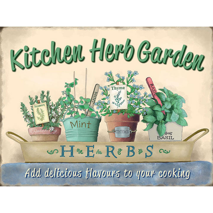 Kitchen Herb Garden Metal Sign