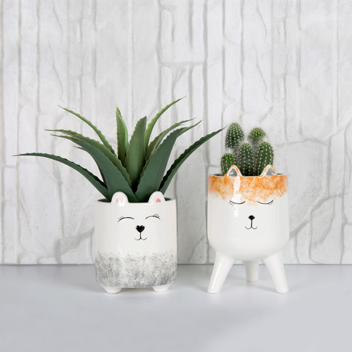 Animal Faces Planter Duo