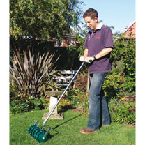 A fast and efficient way to keep your lawn aerated. Helps lawn to breathe, encouraging deep root growth and a lush, green lawn. Large 300mm (12) width