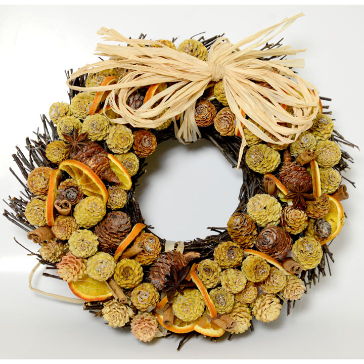 Cone and Orange Circle Wreath