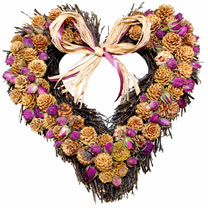 Winter Rose Heart Wreath