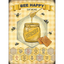 Bee Happy Metal Sign