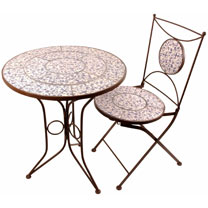 Ceramic Table and Two Ceramic Chairs