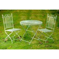 Old Rectory Round Table and 2 Folding Chairs - Green