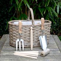 Antique Wash Gardening Basket with Tools