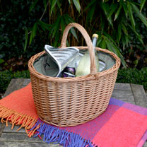 Oval Shopping Basket Tweed Cooler