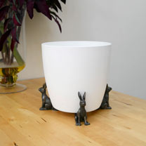 Verdi Gris Hare Pot Feet
