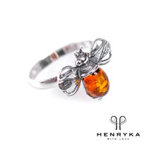 Bumble Bee Ring in Silver and Cognac Amber